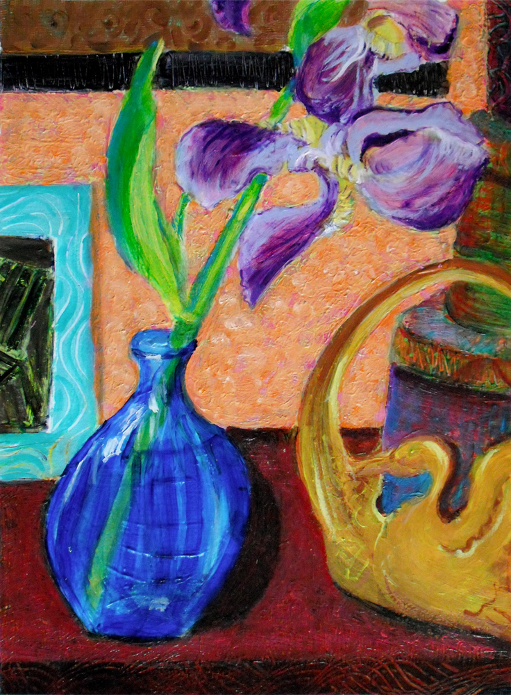 Iris in a Blue Vase - acrylic painting by Heni Sandoval