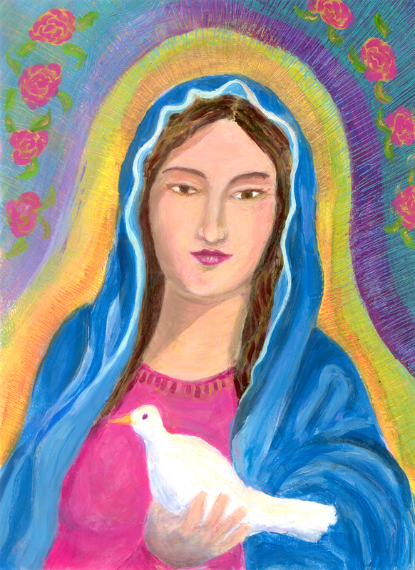 Mexican Madonna acrylic painting by Heni Sandoval