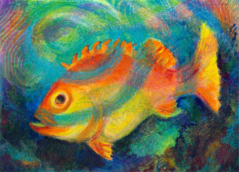 Orange Fish in Emerald Sea - acrylic painting by Heni Sandoval