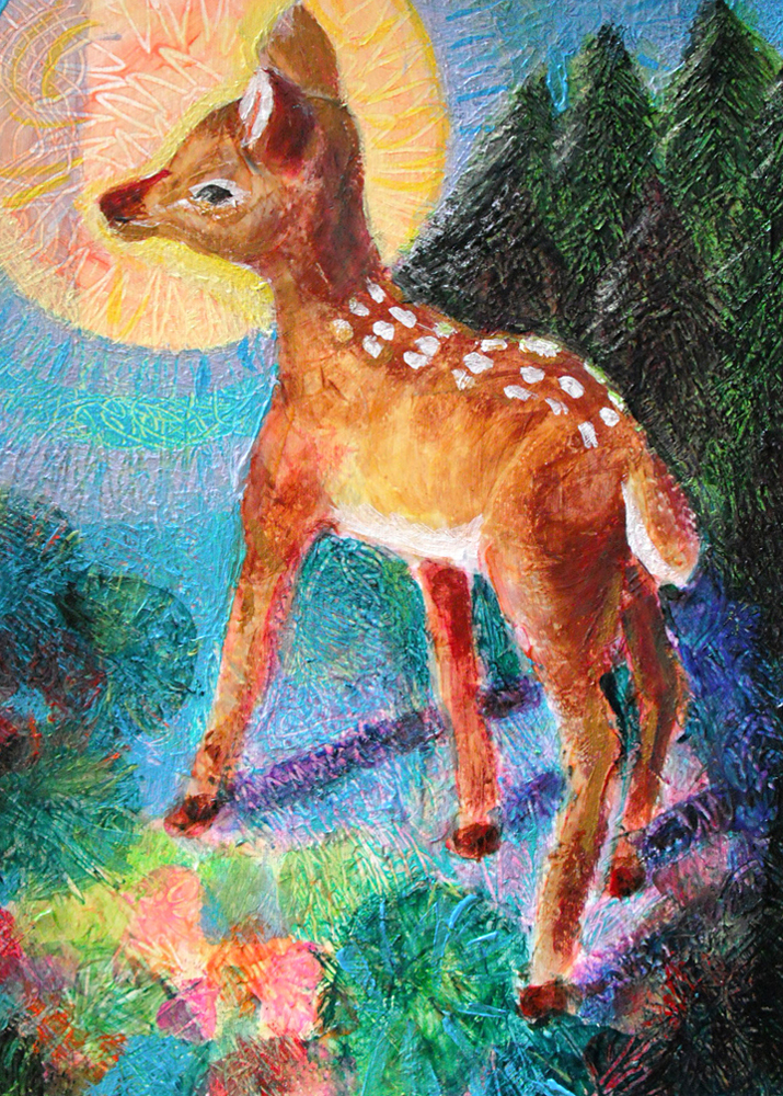 A Gentle Fawn - acrylic painting by Heni Sandoval