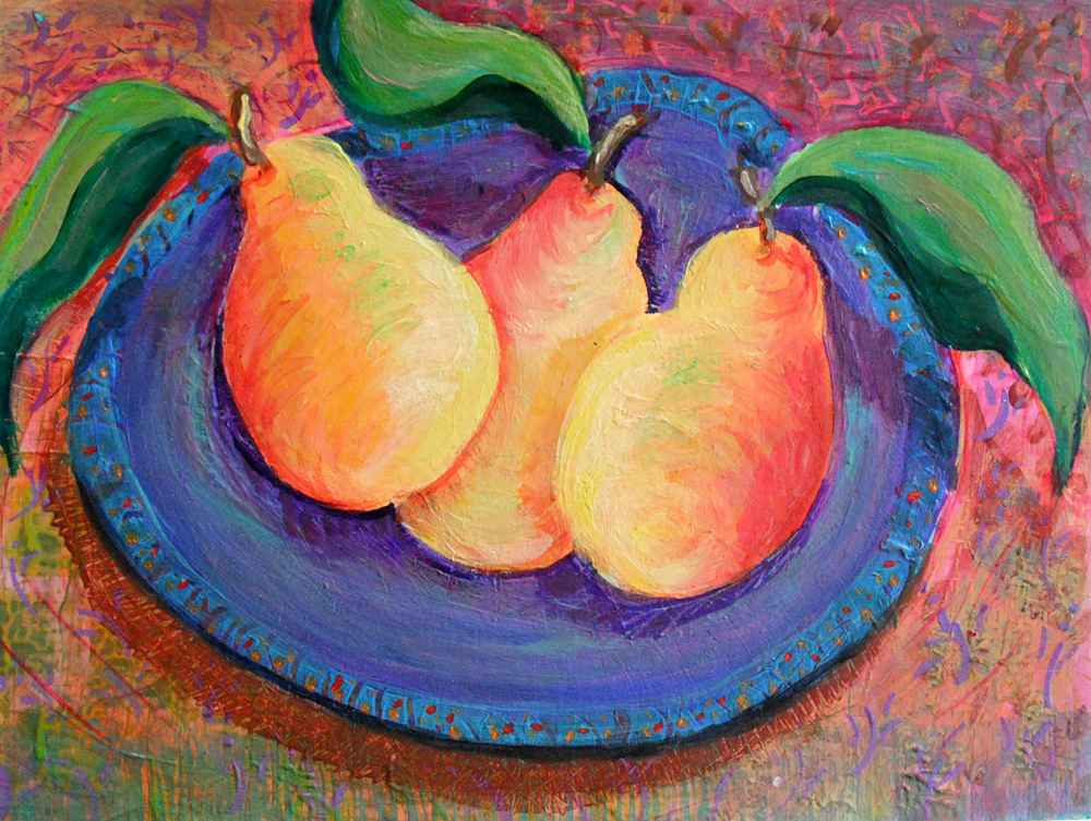Mexican Pears - acrylic painting by Heni Sandoval