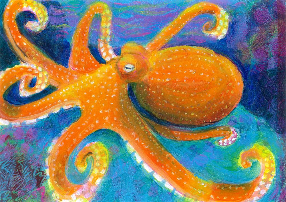 Orange Octopus - acrylic painting by Heni Sandoval