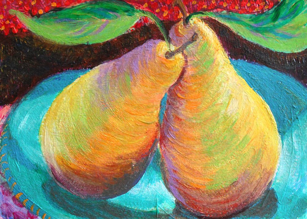 My pear paintings heni 39 s happy paintings for Acrylic paint mural