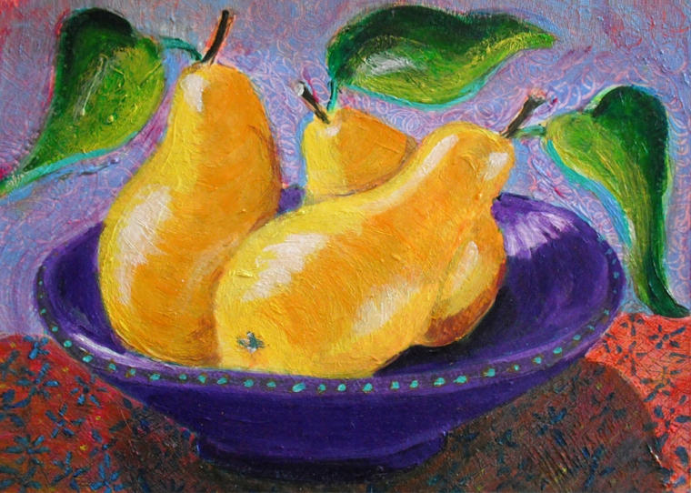Three Pears in a Bowl - acrylic painting by Heni Sandoval