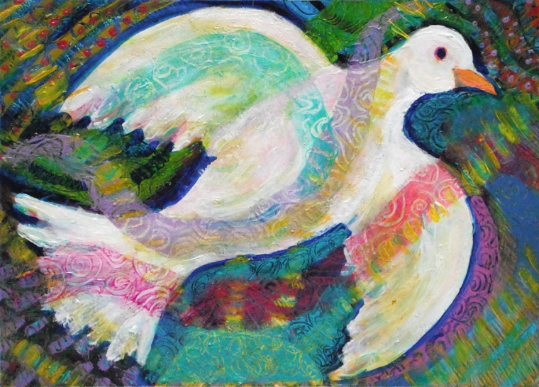 White Dove in Flight - acrylic painting by Heni Sandoval
