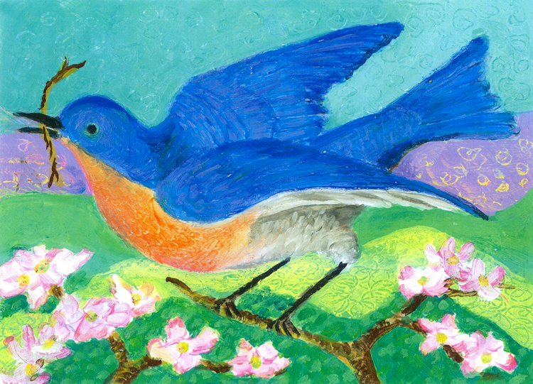Bluebird in Spring - acrylic painting by Heni Sandoval
