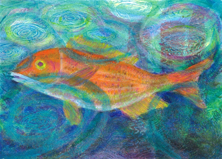 Orange Fish with Raindrops- acrylic painting by Heni Sandoval