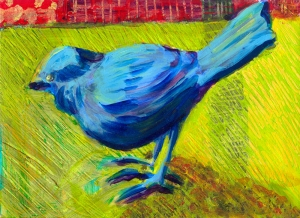 Little Blue Bird - acrylic painting by Heni Sandoval