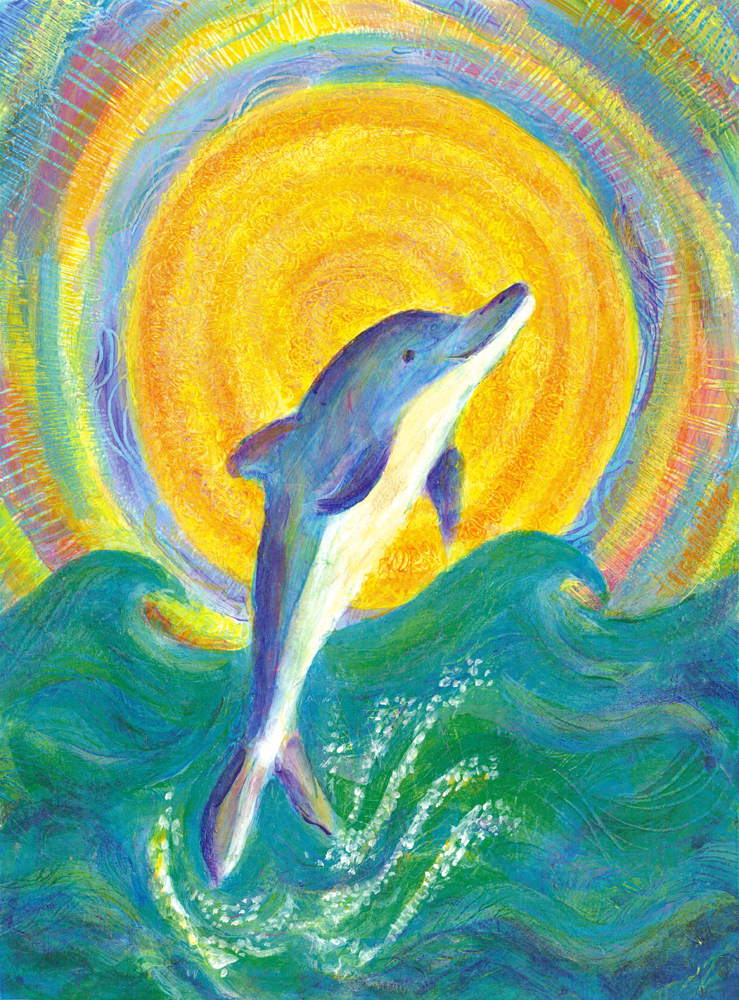 Dolphin Playing with the Sun - acrylic painting by Heni Sandoval