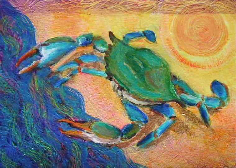 Into the Sea - acrylic painting by Heni Sandoval