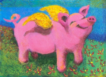 Happy Pig - acrylic painting by Heni Sandoval