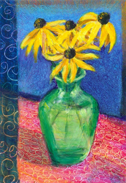 Black-eyed Susan's in a Green Vase acrylic painting by Heni Sandoval