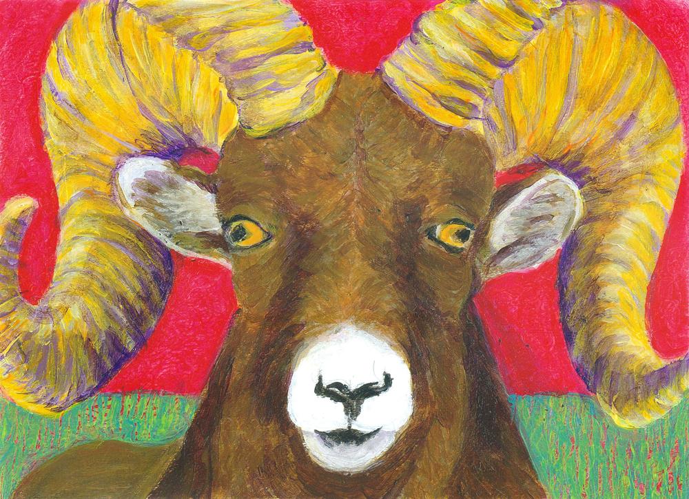 The Ram - acrylic painting by Heni Sandoval
