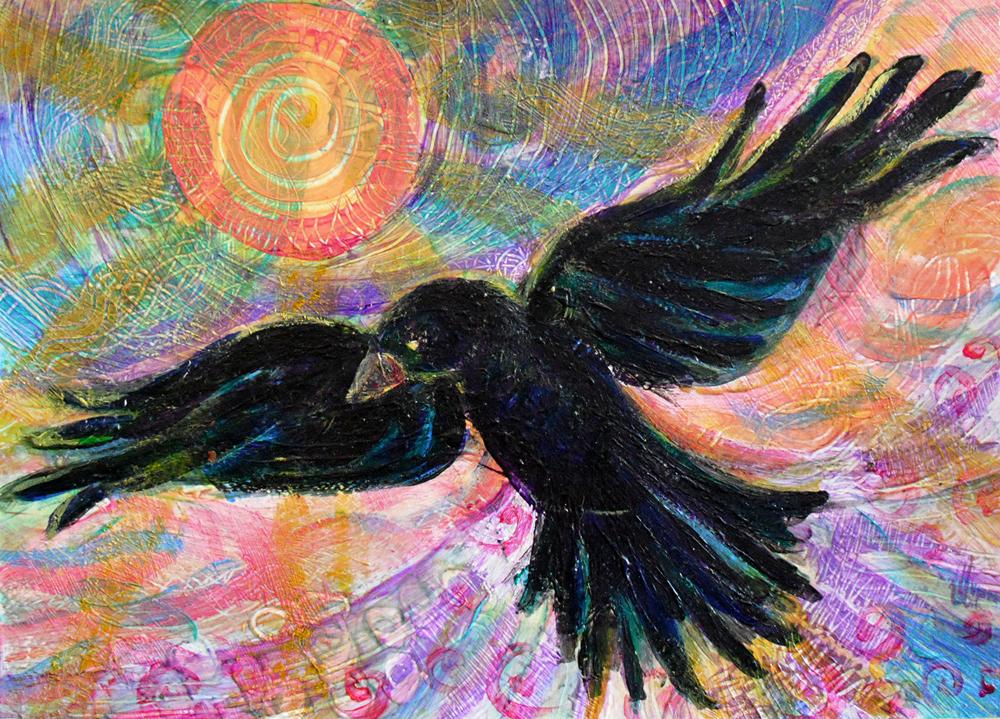 Crow at Dusk - acrylic painting by Heni Sandoval