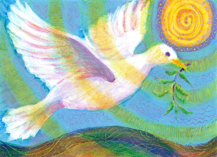 Dove of Peace - acrylic painting by Heni Sandoval