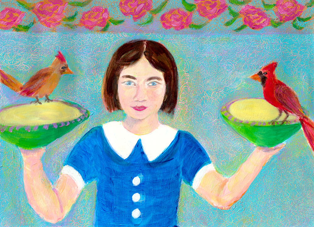 A Girl with Two Red Birds - acrylic painting by Heni Sandoval