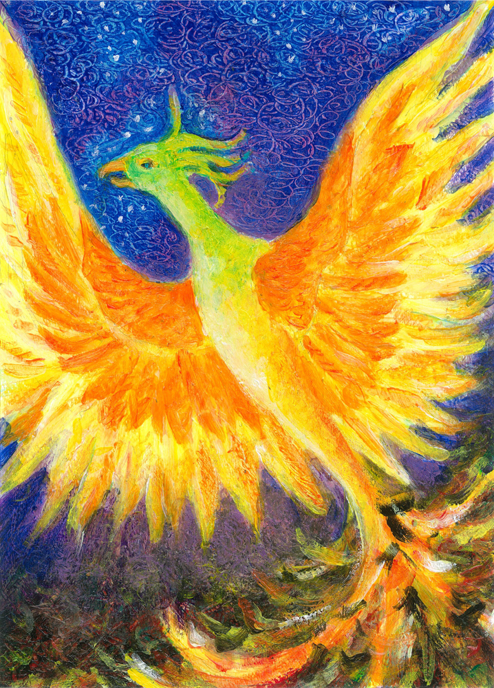 Phoenix Rising - acrylic painting by Heni Sandoval