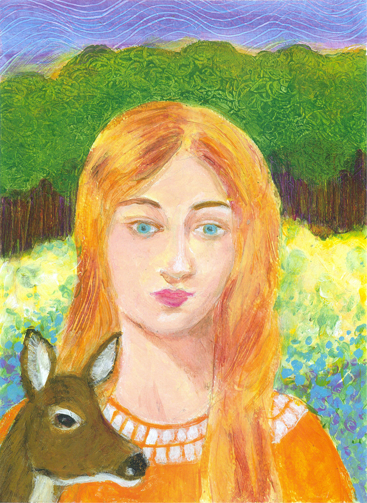 Girl with Young Doe - acrylic painting by Heni Sandoval
