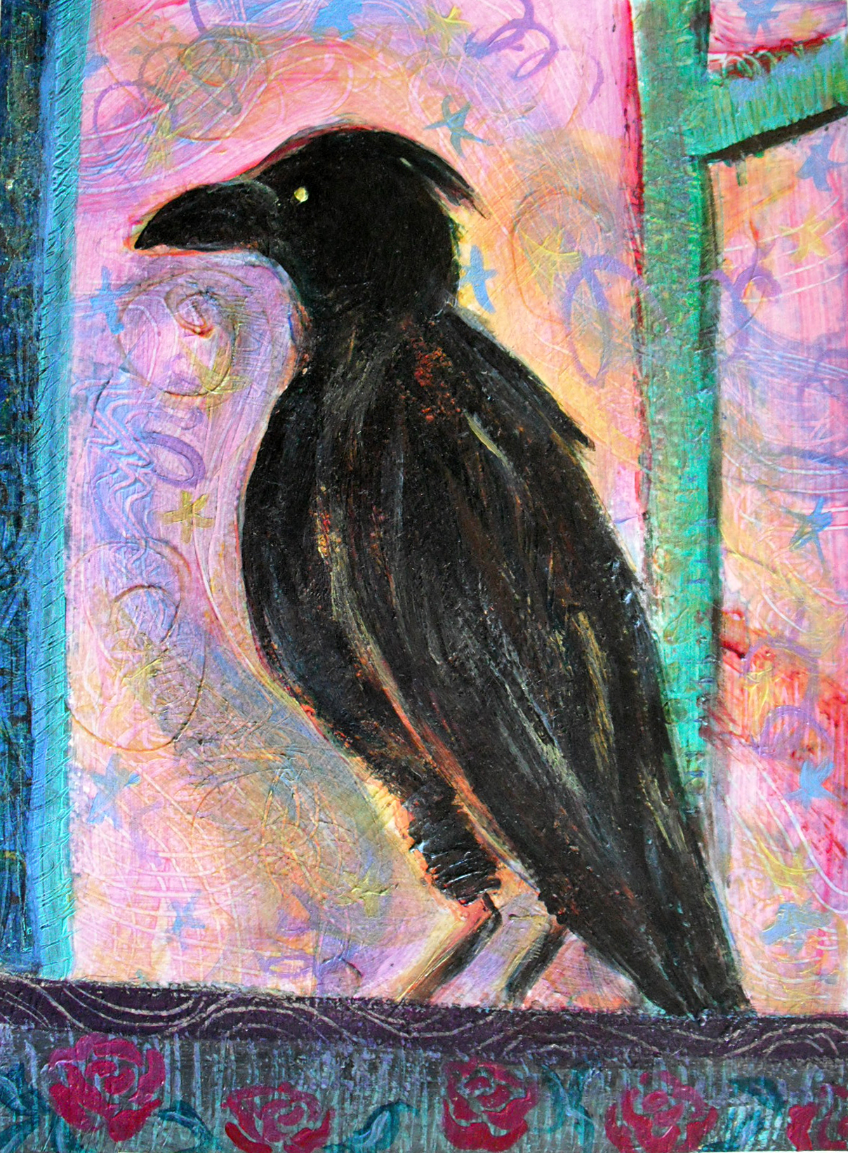 Crow in the Know - Acrylic Painting by Heni Sandoval