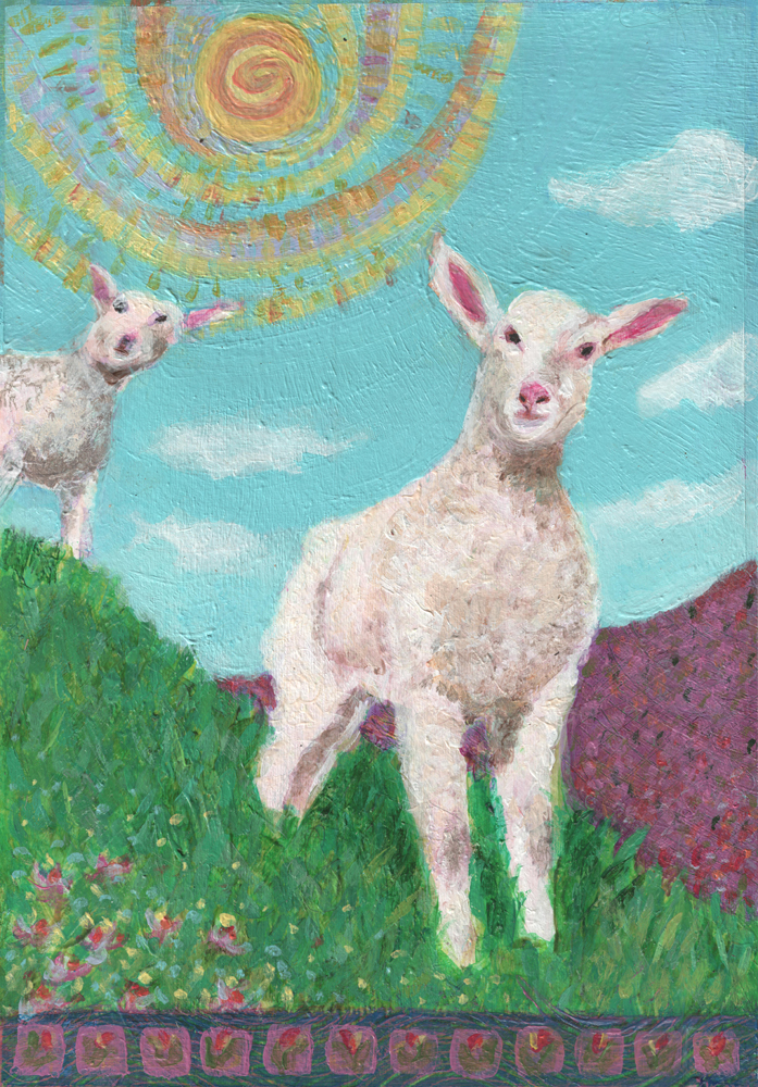 Lambs on a Hillside - acrylic painting by Heni Sandoval