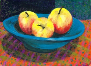 Three Apples in a Bowl - acrylic painting by Heni Sandoval