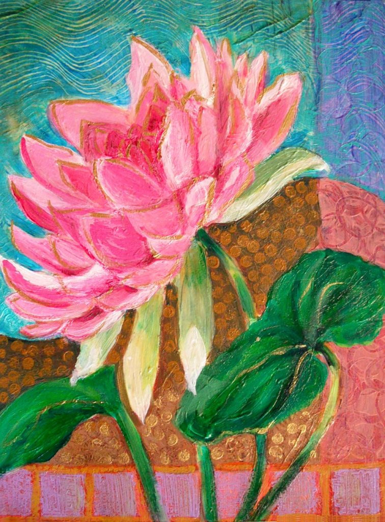 Pint Lotus Blossom - acrylic painting by Heni Sandoval