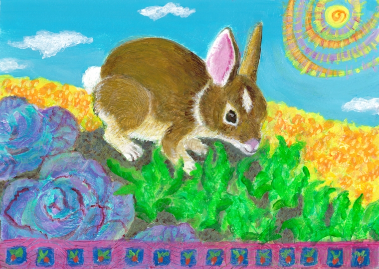Baby Bunny in the Garden - acrylic painting by Heni Sandoval