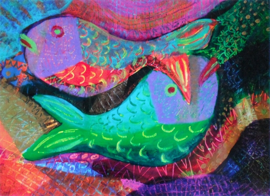 Twin Fish - acrylic painting by Heni Sandoval
