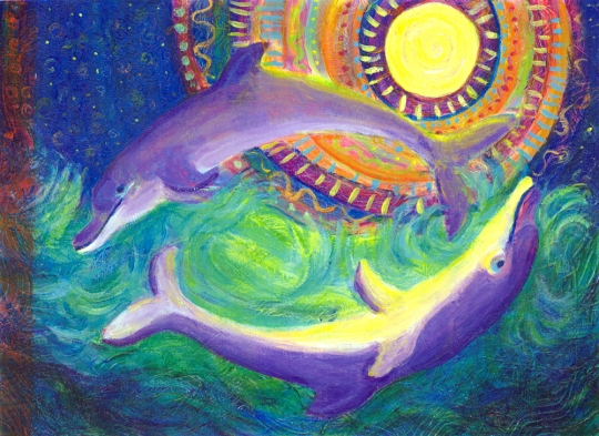 Two Dolphins in the Moonlight - acrylic painting by Heni Sandoval
