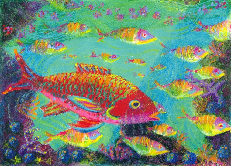 Red Fish in the Tropics ~ acrylic painting by Heni Sandoval