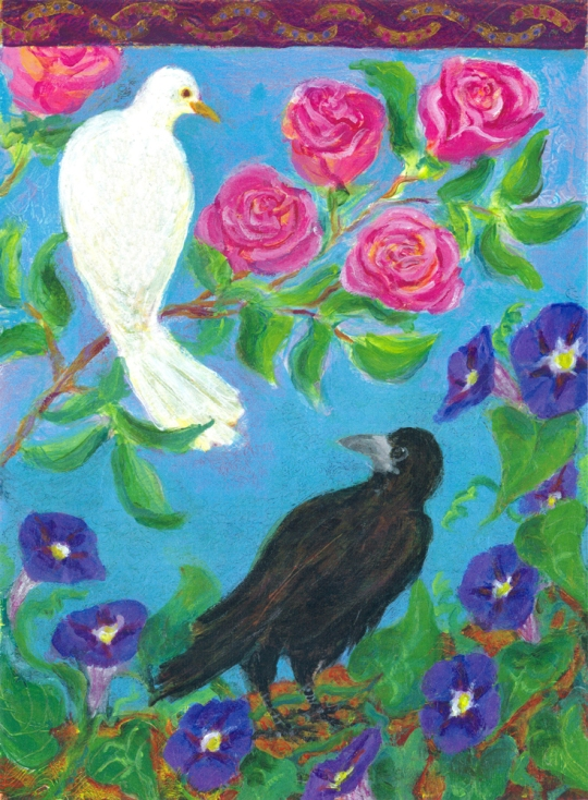 The Dove and the Crow - acrylic painting by Heni Sandoval
