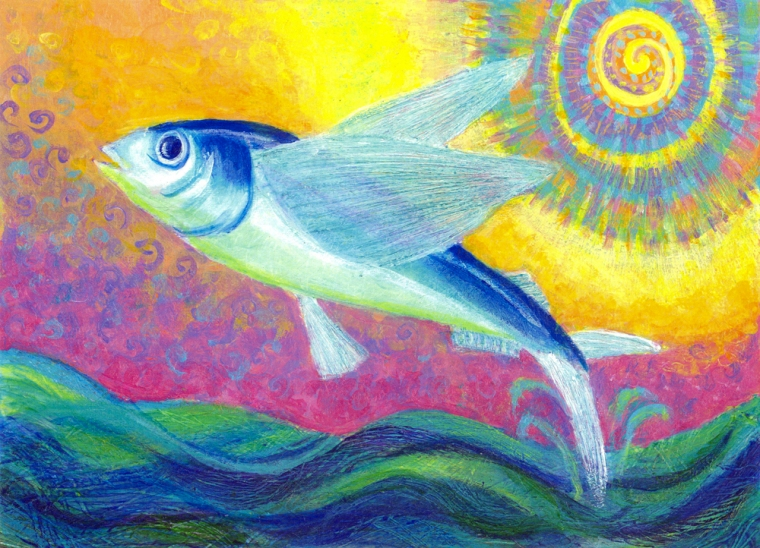 Flying Fish - acrylic painting by Heni Sandoval