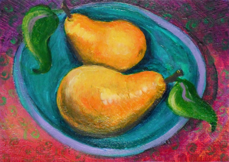 Lounging Pears - acrylic painting by Heni Sandoval