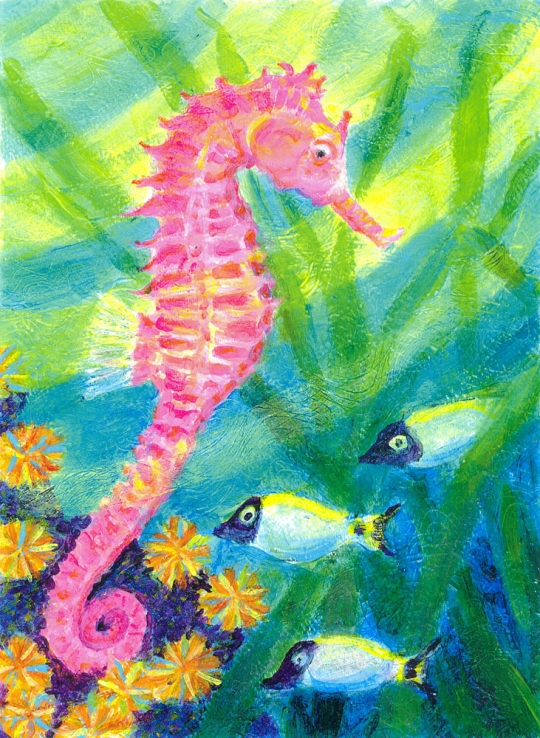 Pink Seahorse - acrylic painting by Heni Sandoval