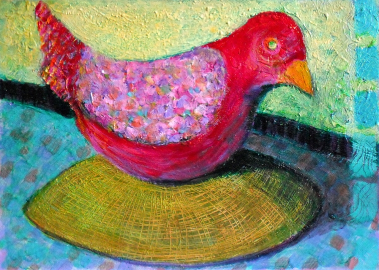 Red Dove on a Bowl - acrylic painting by Heni Sandoval