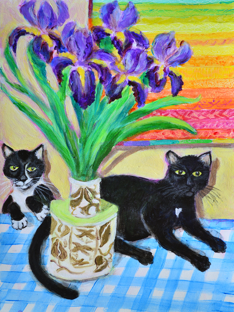 Beverly's Irises with Adele's Kitties