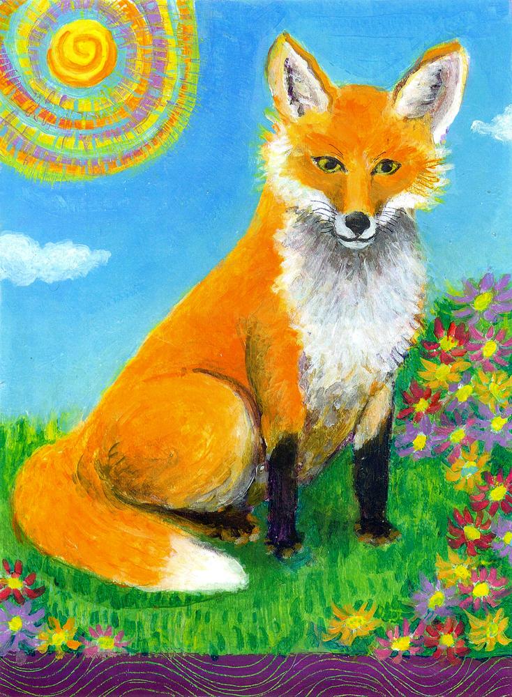 Fox on the Hillside - acrylic painting by Heni Sandoval