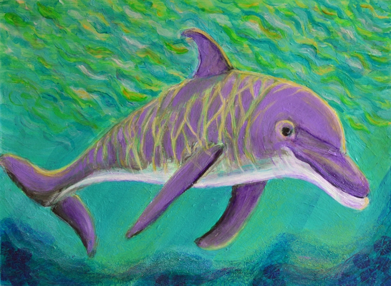 Dolphin in Dappled Sunlight - acrylic painting by Heni Sandoval