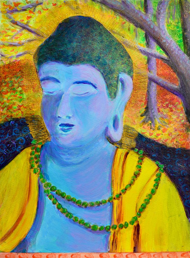 Autumn Buddha - acrylic painting by Heni Sandoval