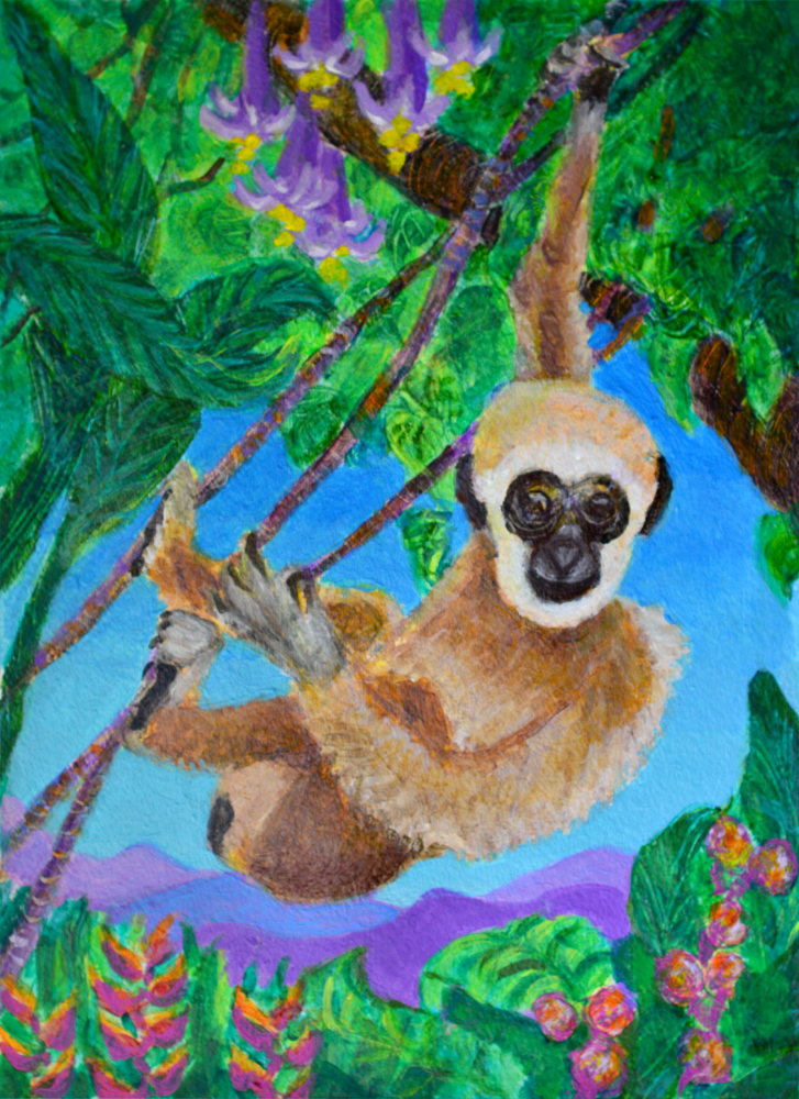 Young Gibbon - acrylic painting by Heni Sandoval