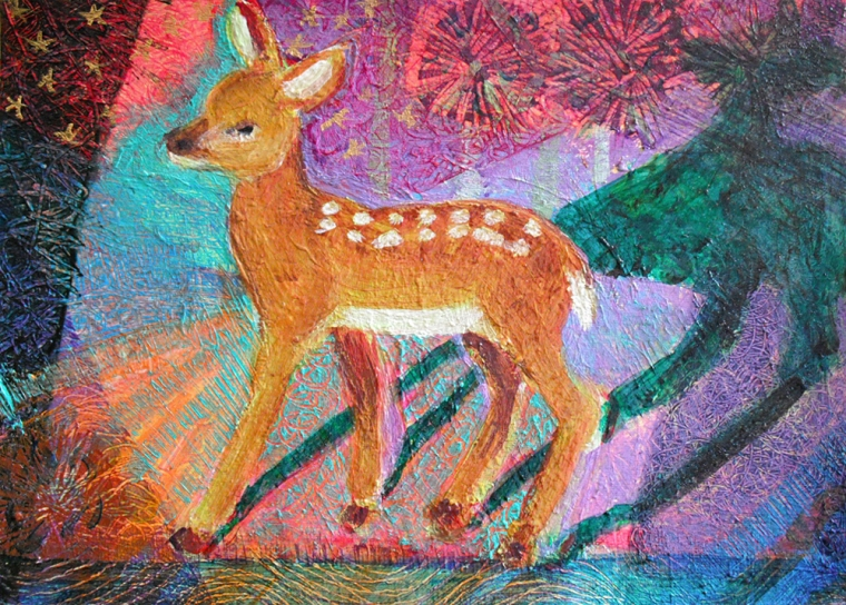 Fawn and Starrs - acrylic painting by Heni Sandoval