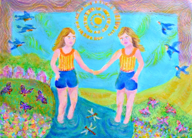 The Twins - acrylic painting by Heni Sandoval