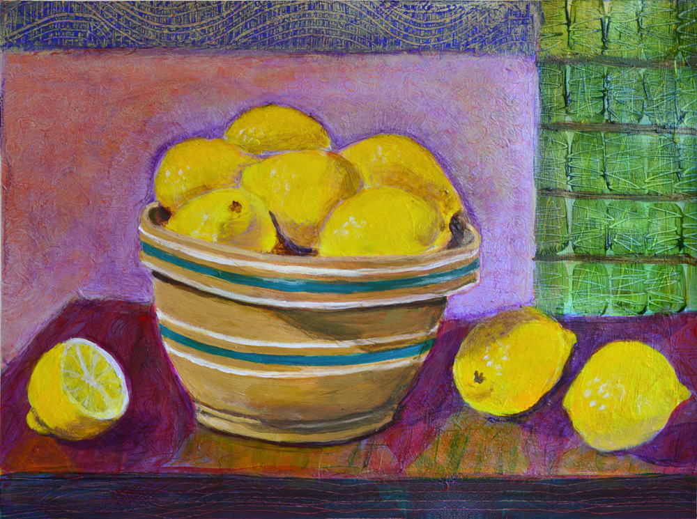 Yellow-ware Mixing Bowl - acrylic painting by Heni Sandoval