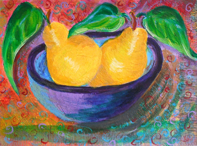 Mexican Jumping Pears - acrylic painting by Heni Sandoval