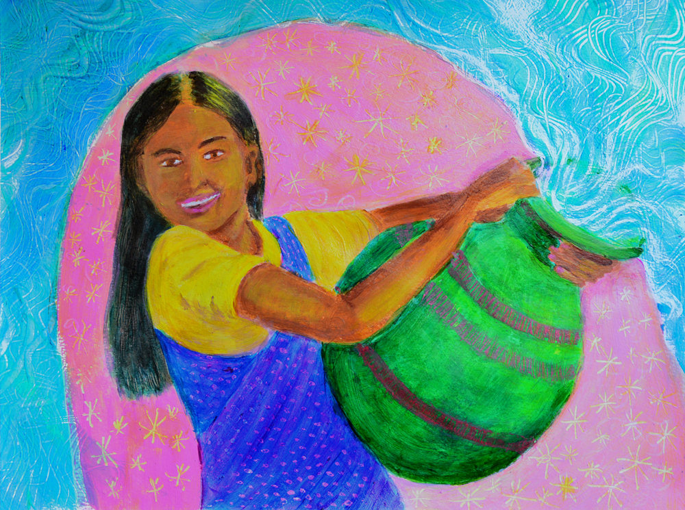 The Water Barer acrylic painting by Heni Sandoval
