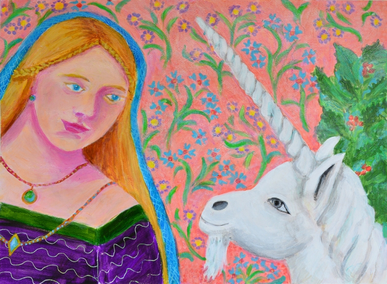 Lady and the Unicorn -acrylic painting by Heni Sandoval