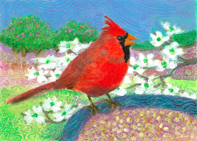 Card in the Garden -acrylic painting by Heni Sandoval