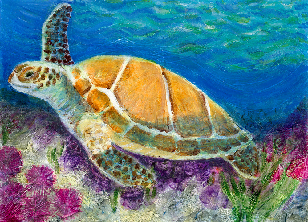 Under water scene heni 39 s happy paintings for Turtle fish paint