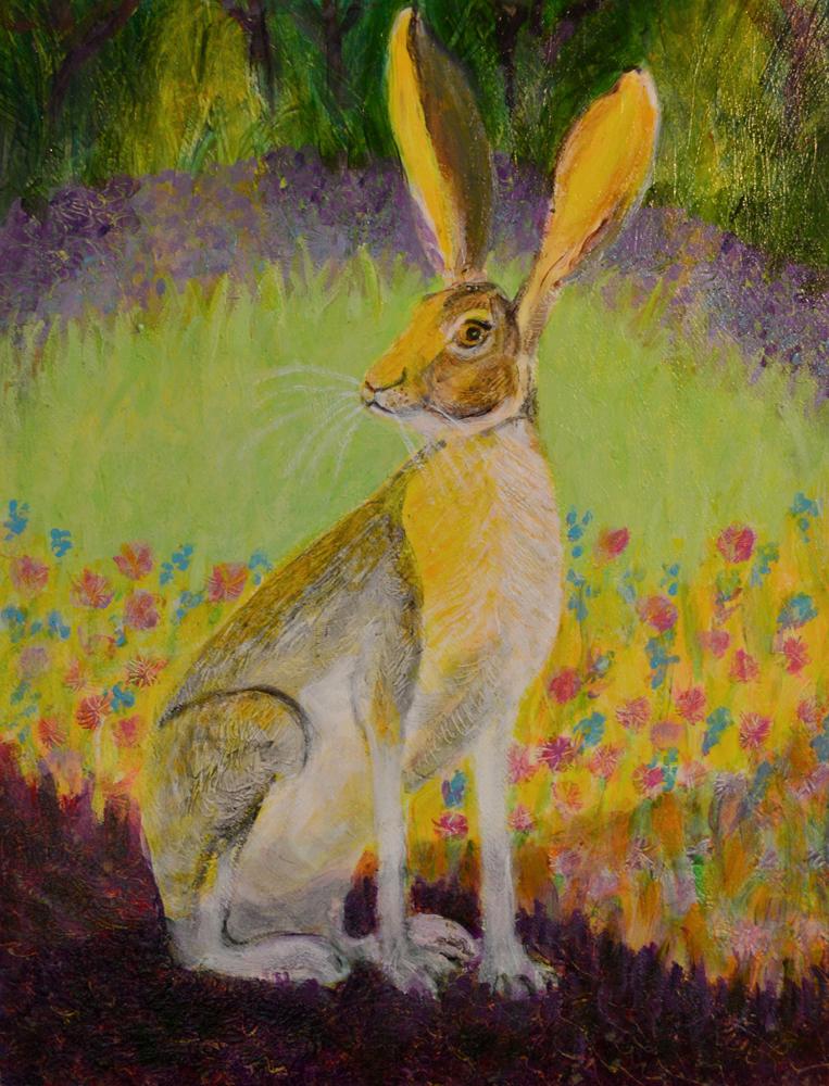Jack Rabbit at Dusk - acrylic painting by Heni Sandoval