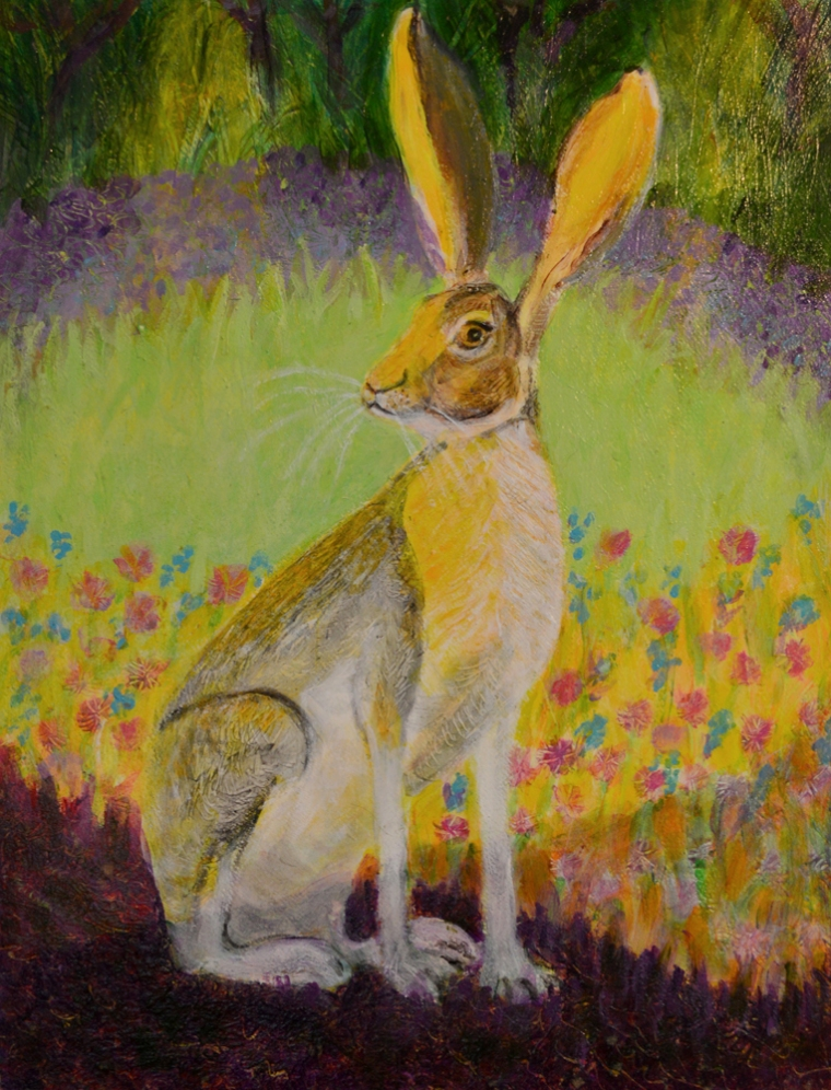 Jack Rabbit at Dusk - acrylic painting by Heni Sandoval
